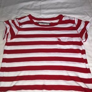 abercrombie and fitch red and white tee